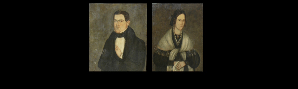 Pair of American Folk Art Portraits by Ralph D. Curtis