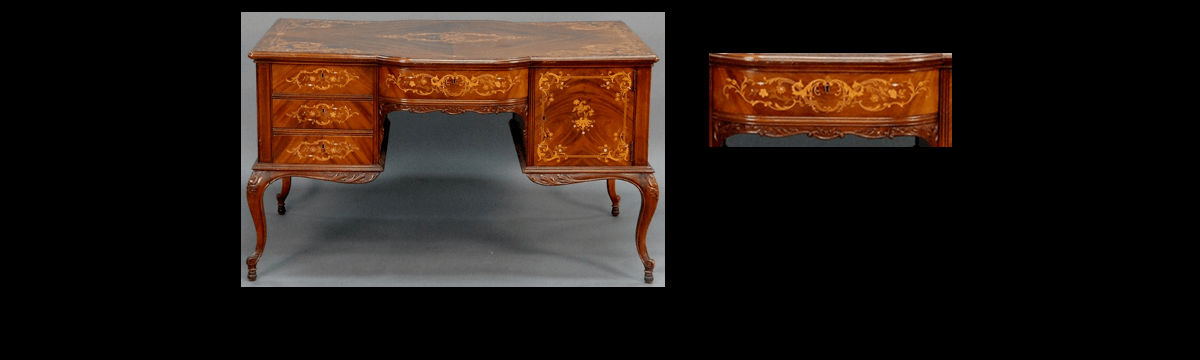 Antique Inlaid Desk by Horner Brothers, NY